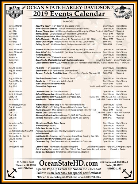 Printable 2019 Events Calendar