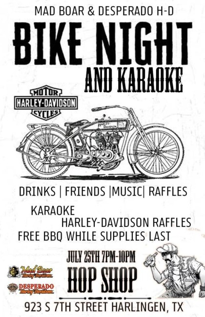 Bike Night & Karaoke at Hop Shop