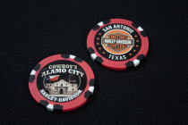 Custom Red & Black Alamo Poker Chip