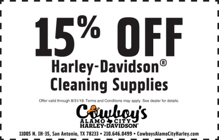August Parts Coupon - 15% off H-D Cleaning Supplies