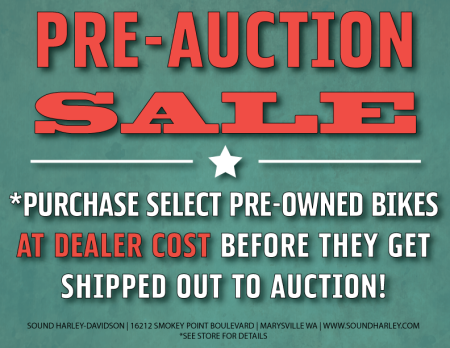 Pre-Auction Pre-owned Bike Sale!