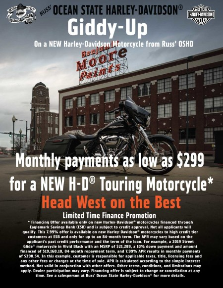Giddy Up on a New Harley-Davidson Touring Motorcycle.