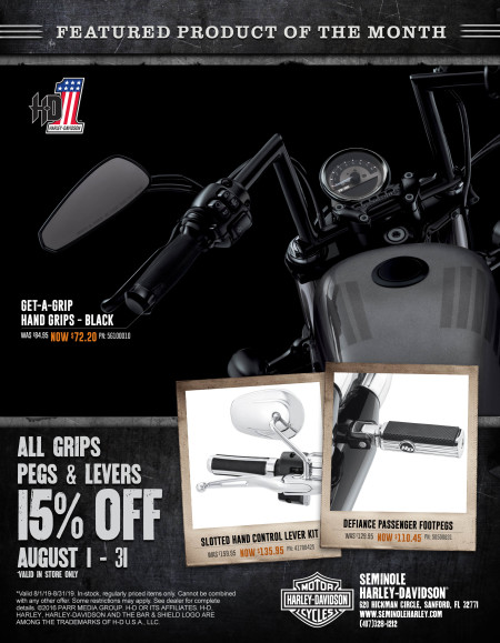 15% off Grips, Pegs & Levers