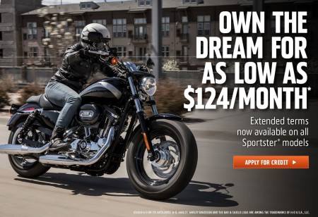 Own a New Sportster Model for as little as $124 per month!