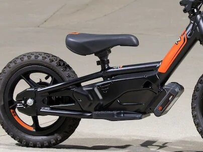Harley Davidson Electric Balance Bike Seat Closeup
