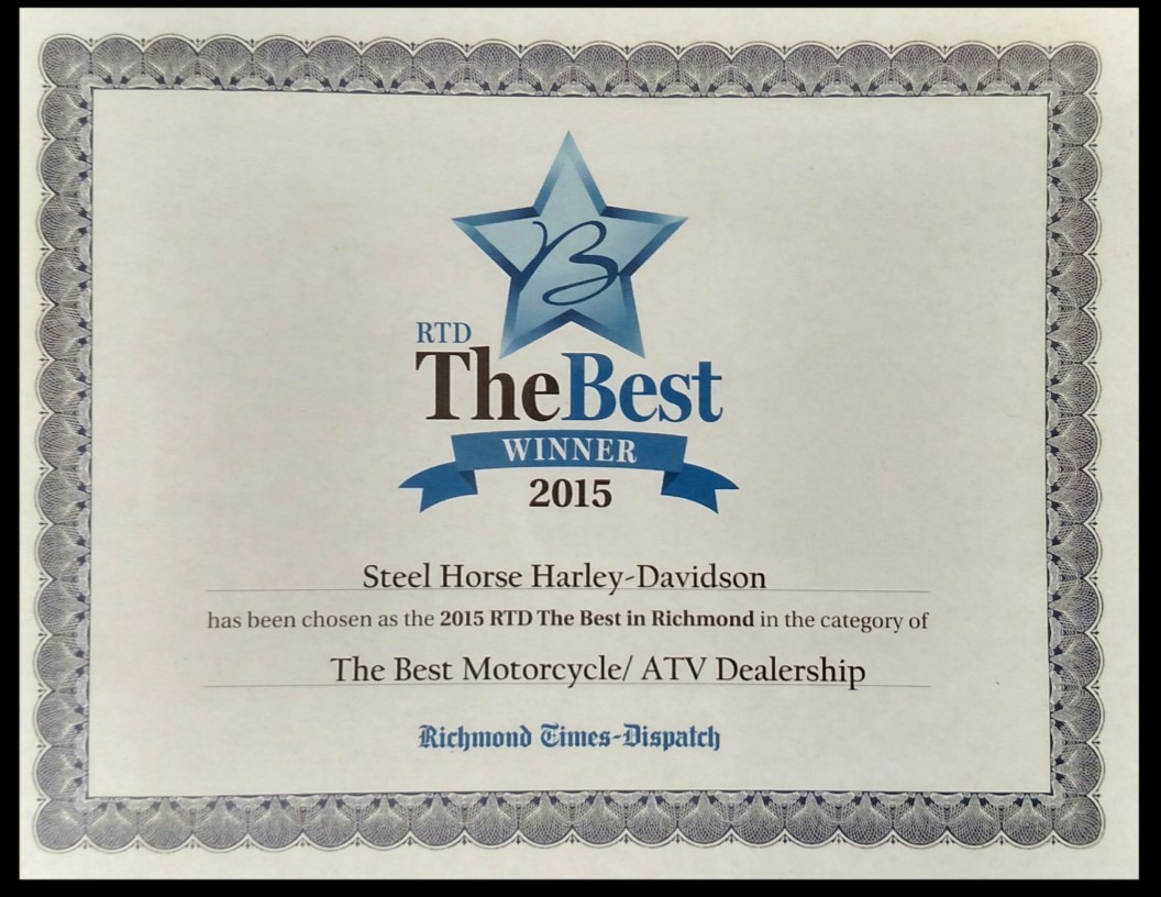 The best Winner 2015 certificate - Steel Horse Harley won.