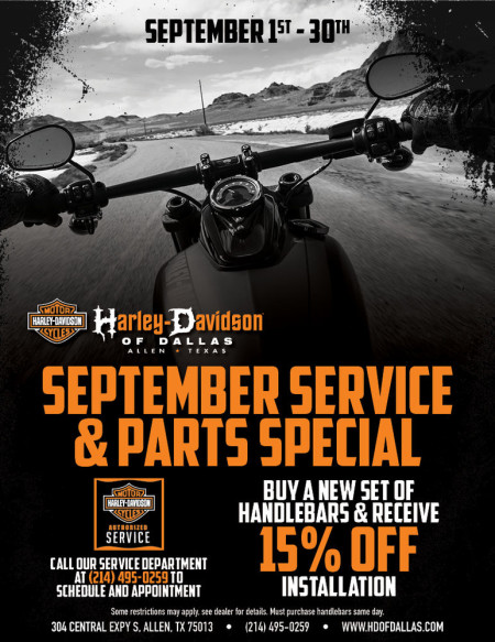 September Service and Parts Special.