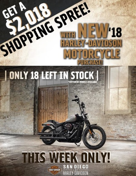 $2,018 Shopping Spree w/purchase of NEW 2018 H-D.