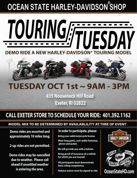 Touring Tuesday:  Demo Ride a New Harley-Davidson Motorcycle