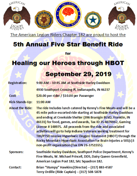 Five Star Benefit Ride for Healing our Heroes STARTS HERE