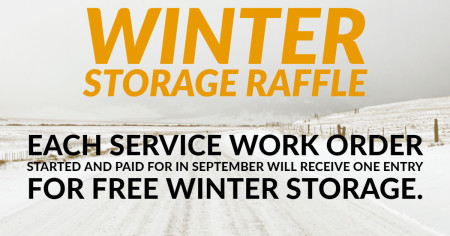 September Service Raffle for Free Winter Storage