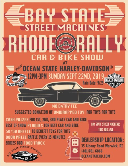 Rhode Rally Car and Bike Show with Bay State Street Machines.