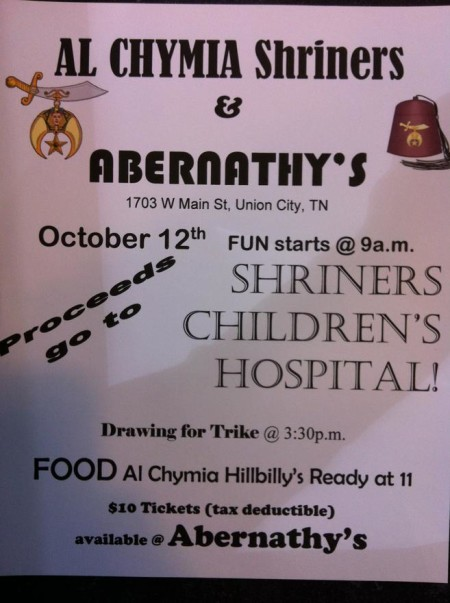 Shriners Children's Hospital Benefit-Trike giveaway