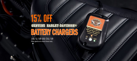 15% OFF GENUINE HARLEY-DAVIDSON BATTERY CHARGERS