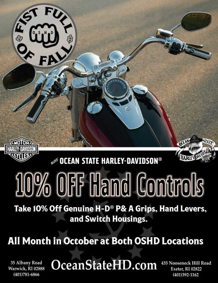 10% Off Hand Controls.  Both OSHD Locations in October.