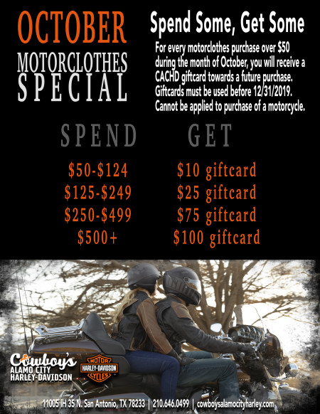 October Specials for Motorclothes Department