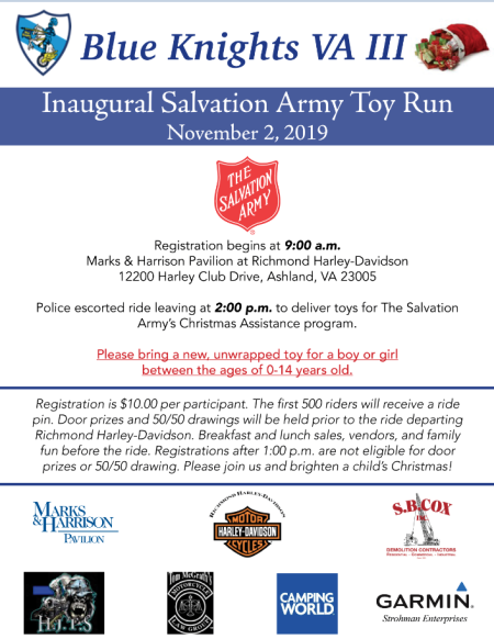 Blue Knight's Salvation Army Toy Run