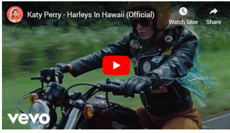 Katyperry is cruising through Hawaii on a Harley in her latest music video.