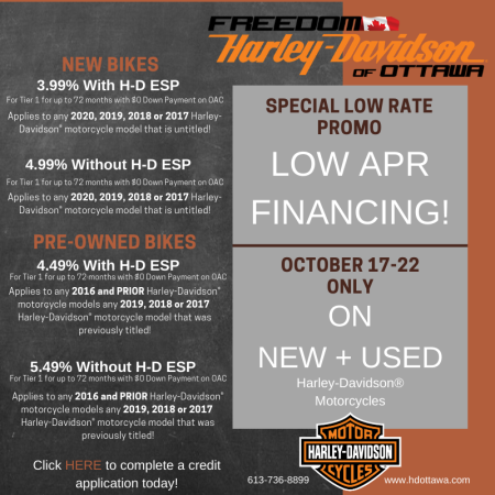 LOW APR FINANCING ON UNTIL OCTOBER 22nd