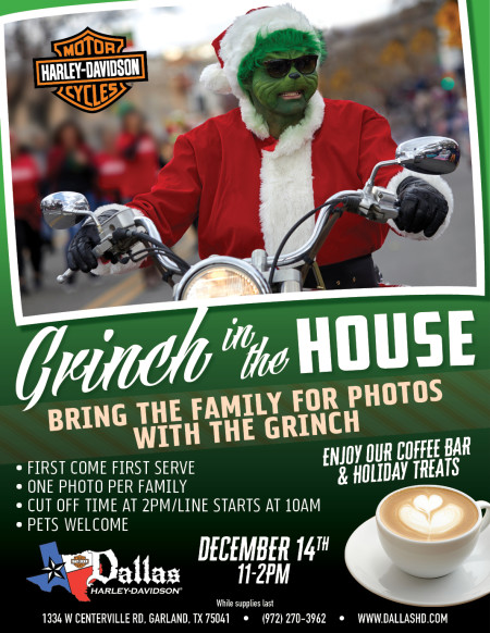 Bring the family for photos with The Grinch!