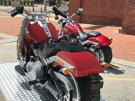 A partnership between Lego and Harley includes life-size Lego Harleys and an event for kids Nov. 2-3