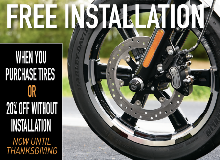 Free Installation or 20% off tires!