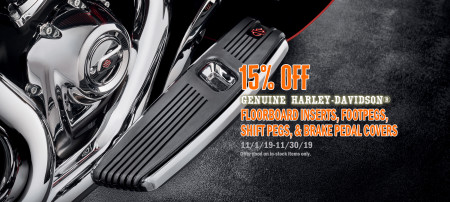 15% Off Floorboard Inserts, Shift Pegs, Foot Pegs, and Brake Pedal Covers