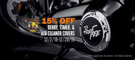 15% Off Derby, Timing, and Air Cleaner covers
