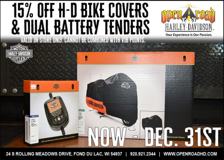 15% Off H-D Bike Covers & Dual Port Battery Tenders