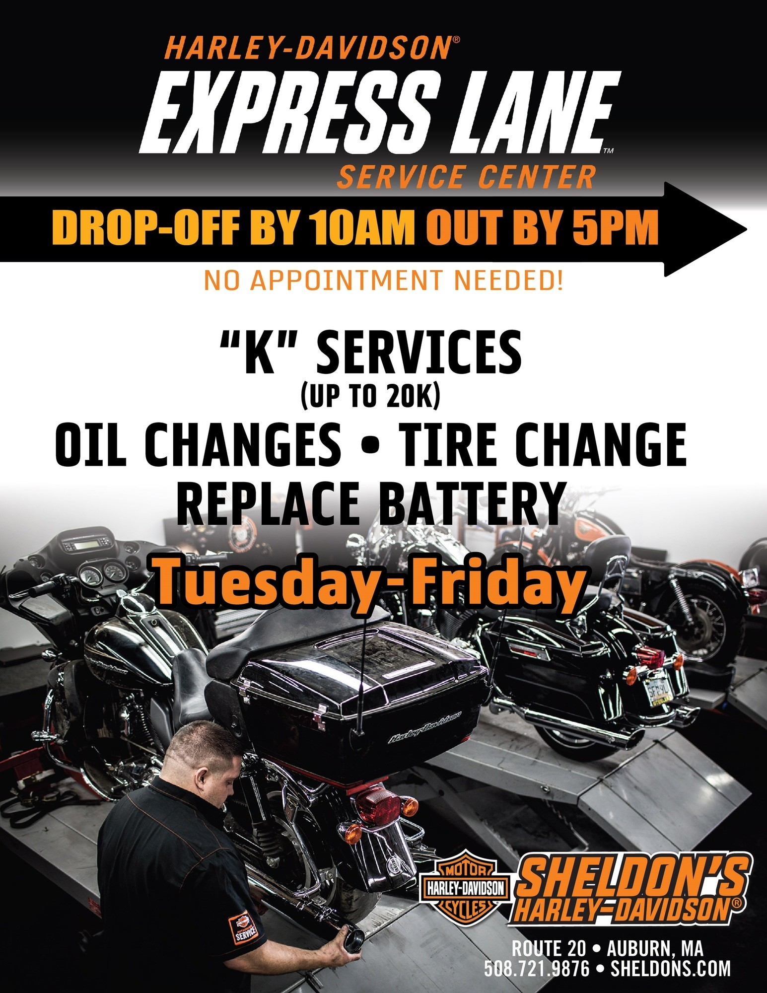 Sheldon's Harley Davidson Service department deal flyer
