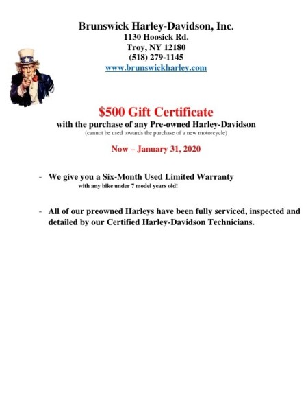 $500 Gift Certificate with the purchase of any pre-owned Harley-Davidson