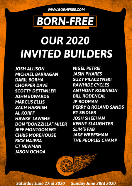 HARLEY-DAVIDSON MOTOR COMPANY PRESENTS: 'GENUINE BORN-FREE INVITED BUILDERS' JUNE 27-28 2020