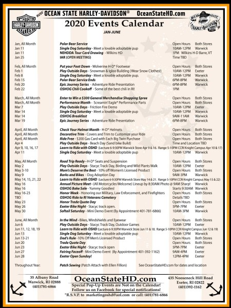Printable 2020 Events Calendar