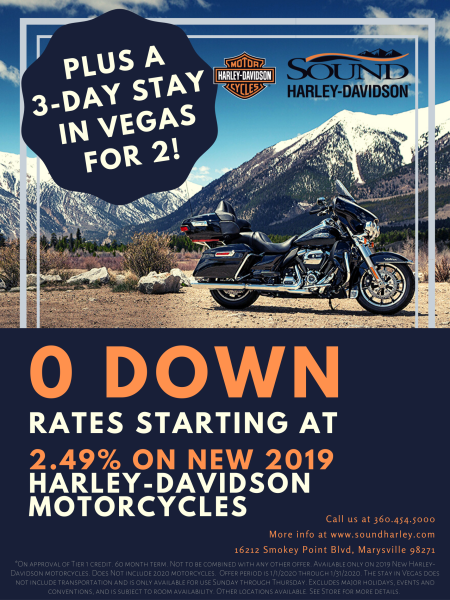 0 Down, Rates Starting at 2.49% on New 2019 Motorcycles*