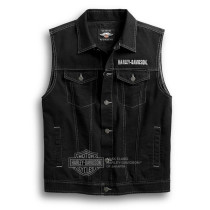 VEST-UPRIGHT EAGLE,DENIM,BLK