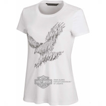 TEE-METALLIC EMBROIDERED,S/S,KNT,WHT
