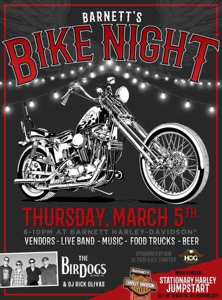 Barnett's BIKE NIGHT • Thursday March 5th