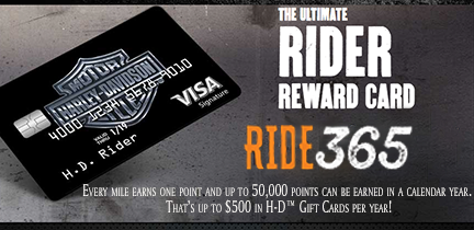 QUALIFYING H-D VISA CARDMEMBERS CAN EARN POINTS FOR THE MILES THEY RIDE