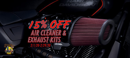 15% Off Screamin' Eagle Exhaust and Air Cleaner kits