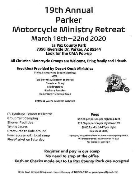 19th Annual Parker Motorcycle Ministry Retreat