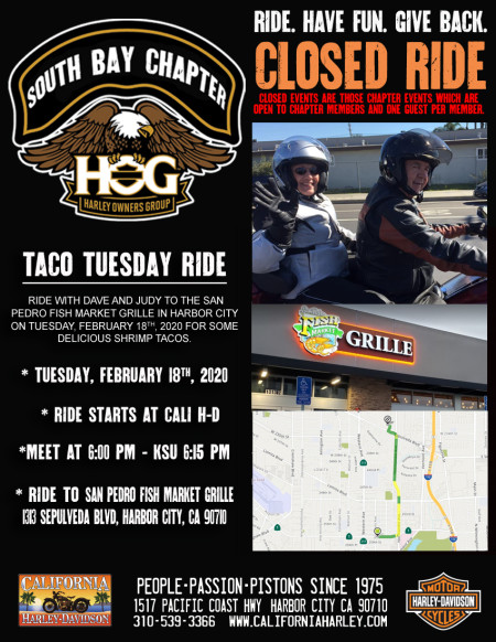 South Bay HOG - Taco Tuesday ride with Dave & Judy