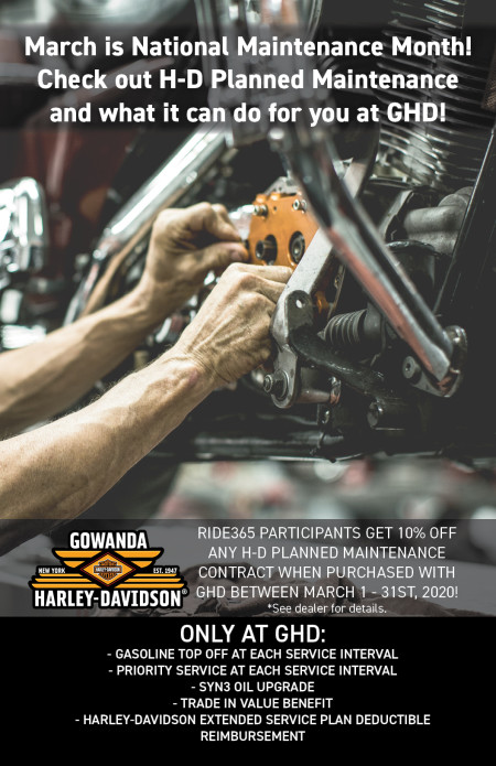 10% OFF H-D PLANNED MAINTENANCE