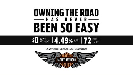 Harley-Davidson - Get 4.49% APR and $0 Down on New Harley-Davidson Street™ Motorcycles HARLEY-DAVID