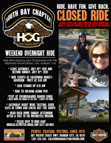 South Bay HOG - Weekend ride with the Setmeyers 7/18-7/19