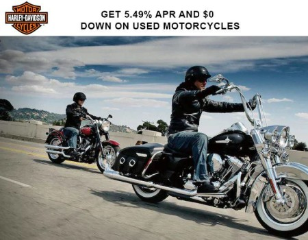 Harley-Davidson - Get 5.49% APR* and $0 DOWN* on Used Motorcycles HARLEY-DAVIDSON - GET 5.49% APR*