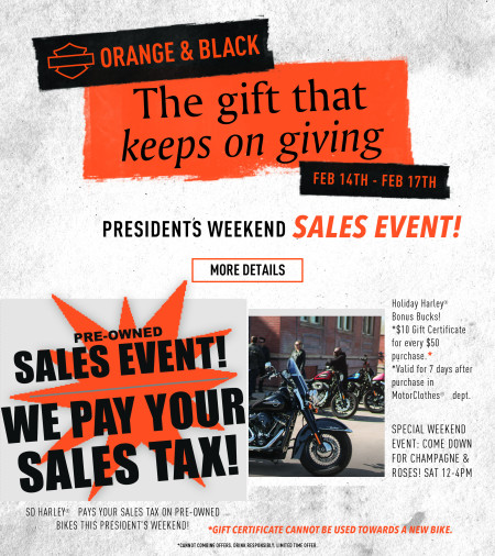 Orange & Black President's Weekend Sale