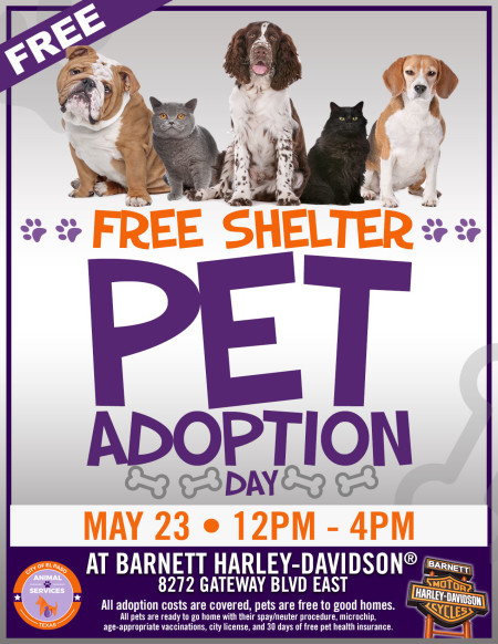 Free Shelter Pet Adoption Day at Barnett Harley-Davidson