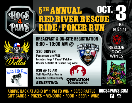 5th Annual HOGS 4 PAWS Red River Rescue Ride/Poker Run