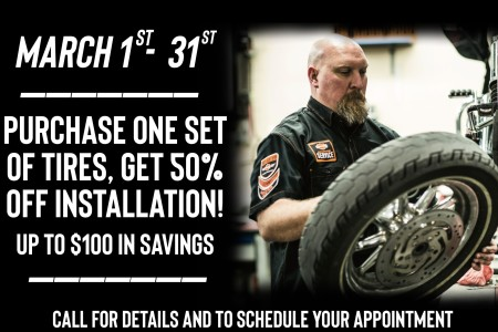 Buy a set of tires and get 50% off Installation