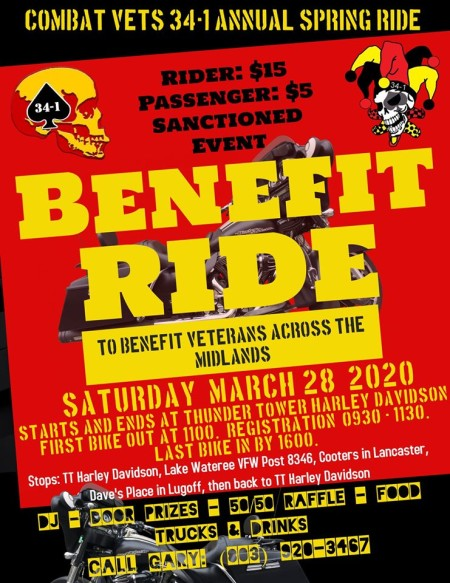 ***Postponed Till Further Notice***CVMA Benefit Ride
